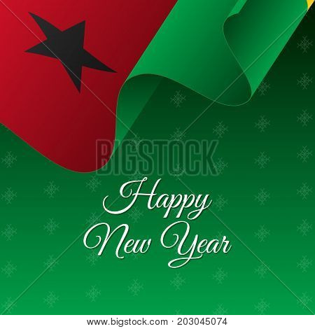 Happy New Year banner. Guinea-Bissau waving flag. Snowflakes background. Vector illustration.
