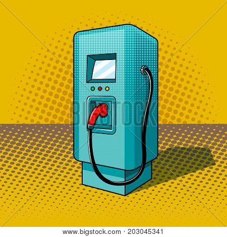 Fueling for electric vehicles pop art style vector illustration. Comic book style imitation