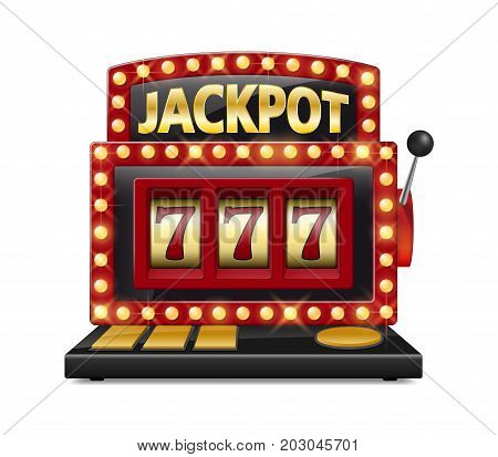 Red slot machine wins the jackpot Isolated on white background. Casino big win slot machine vector illustration EPS 10