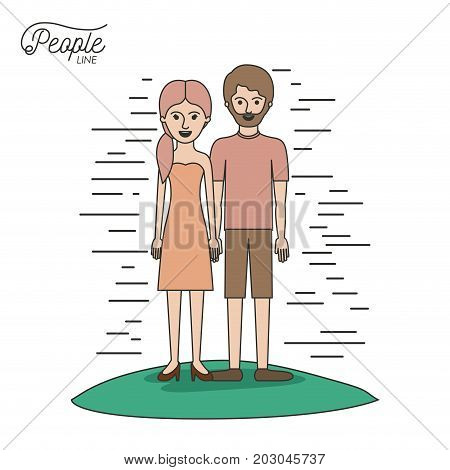 caricature couple people line woman in dress with side ponytail hair and bearded man standing casual clothes in grass on white background vector illustration