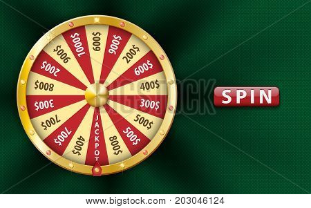 Gold realistic 3d fortune wheel, lucky game spin, luxury roulette on green background. Casino background for money, jackpot, online play, luck, lottery. fortune wheel Vector illustration EPS 10