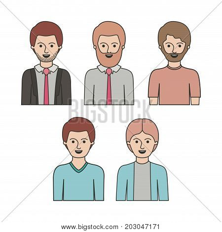 caricature half body men with differents hairstyle set on white background vector illustration
