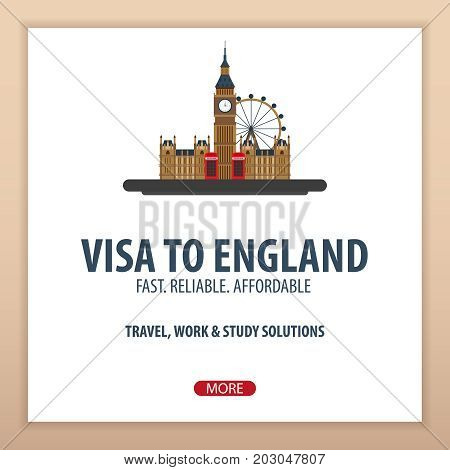 Visa To England. Travel To England. Document For Travel. Vector Flat Illustration.