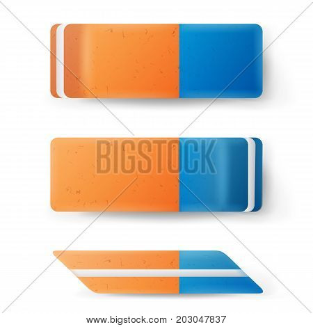 Realistic Eraser Isolated Vector. School Blue Orange Rubber Icon. Isolated Illustration