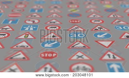 3D Render. Too Many Traffic Signs On White Background.
