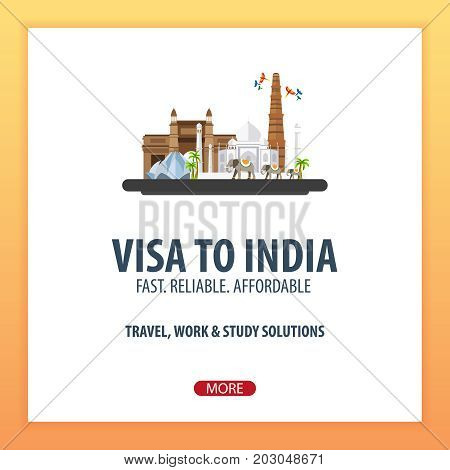 Visa To India. Travel To India. Document For Travel. Vector Flat Illustration.
