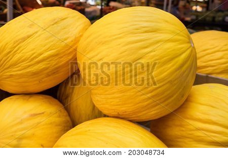 Canary Melon (cucumis Melo) Or Winter Melon For Sale At Local City Market