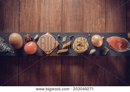 spice and herb on wooden background texture