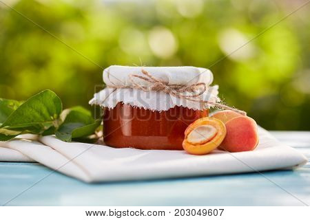 Apricot Jam In Glass Jar With Fresh Fruit