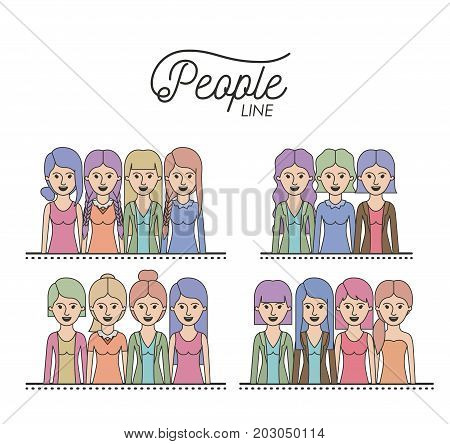 caricature half body women people line with differents hairstyle set on white background vector illustration