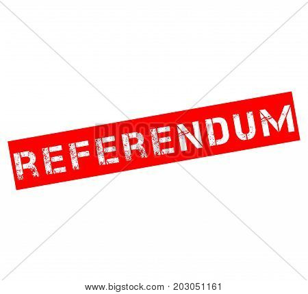 Rubber stamp with text referendum with a white background