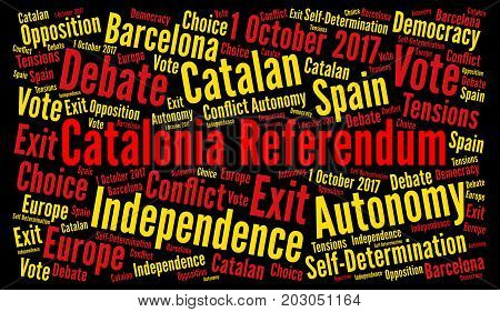 Catalonia referendum word cloud with a black background