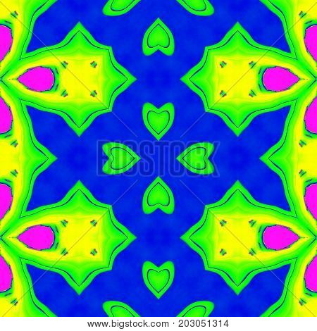 Colorful neon bright colors symmetry pattern wallpaper