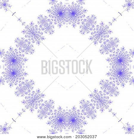 Blue ornate floral symmetry seamless square tile background