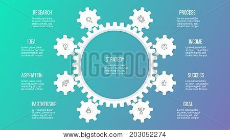 Business hierarchy infographic. Organization chart with 8 options, gears. Vector template.