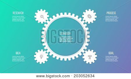 Business hierarchy infographic. Organization chart with 4 options, gears. Vector template.