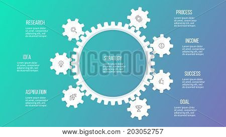 Business hierarchy infographic. Organization chart with 7 options, gears. Vector template.