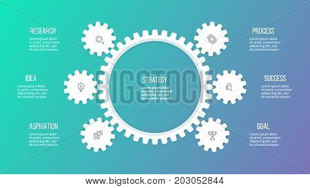 Business hierarchy infographic. Organization chart with 6 options, gears. Vector template.