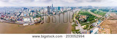HO CHI MINH CITY, VIETNAM - JAN 03, 2017: Aerial view of Ho Chi Minh city, Vietnam. High, Best royalty free stock image,  high resolution