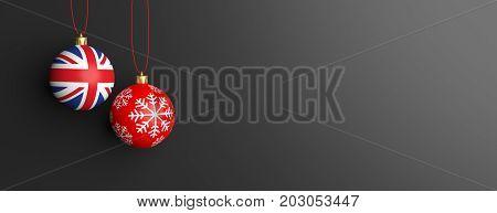 Uk Flag On A Christmas Ball, Black Background. 3D Illustration