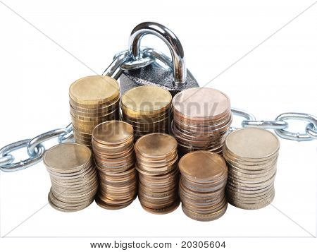 Color photo of pile of coins and a padlock with chain