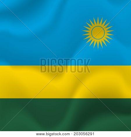 Rwanda waving flag. Waving flag. Vector illustration.