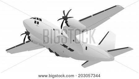 Large military heavy lift transport cargo aircraft vector illustration