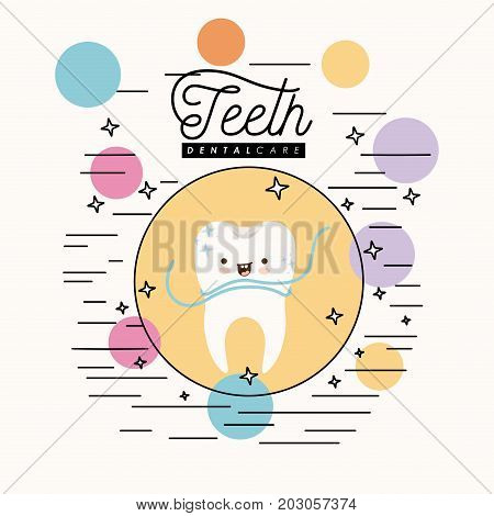 kawaii caricature clean tooth dental care with floss smiling expression in circular frame with colorful bubbles and star with lines on white background vector illustration poster