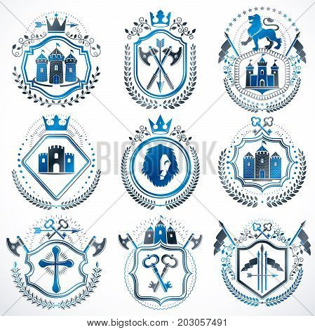 Set of vector vintage elements heraldry labels stylized in retro design. Symbolic illustrations collection composed with medieval strongholds monarch crowns crosses and armory.