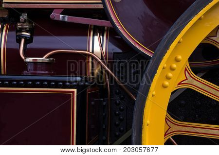 Close up view of old steam engine detail
