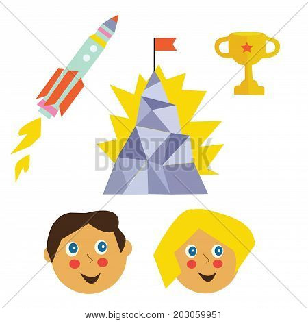 Success icons set for kids with mountain rocket winner cup. Vector graphic illustration