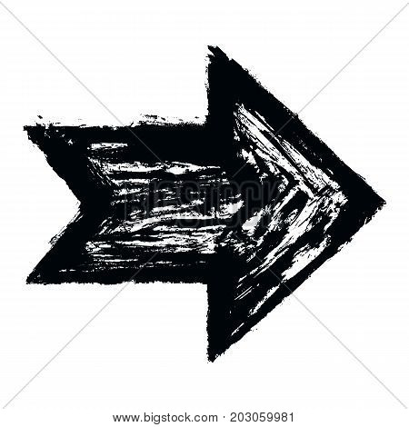 Black arrow sign painted by paint brushstroke. Ink sketch drawing created in handmade technique. Quick and easy recolorable shape. Vector illustration a graphic element