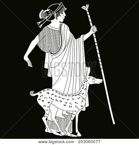 Vector illustration in ancient Greek style. Greek woman. Goddess Artemis with a staff and the forest doe.