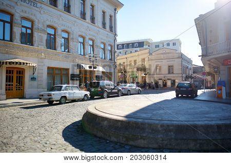 Kutaisi, Georgia - November 22, 2016: Main Street Of Kutaisi Town, Capital Of The Western Region Of