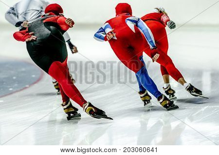 back group speed skaters athlete warm-up in speed skating