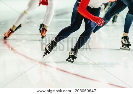group speed skaters women warm-up in speed skating