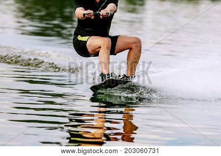 wakeboarding on lake summer recreation in nature