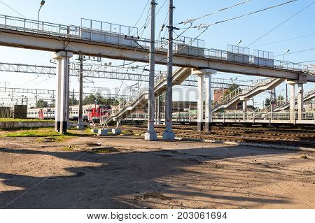 Okulovka Russia - August 17 2017: View of railway station in summer sunny day. Okulovka - is a railway station on the October railway between Moscow and St. Petersburg