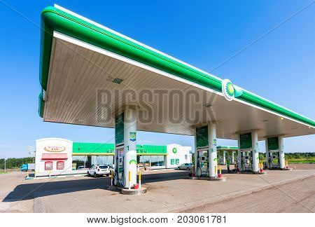 Novgorod region Russia - August 17 2017: BP or British Petroleum gas station in summer day. British Petroleum is a British multinational oil and gas company