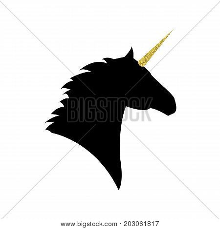 Unicorn head with a golden horn mythical horse in silhouette standing on hind legs