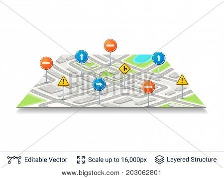 Generic city map of imaginary city. Light colored vector illustration.