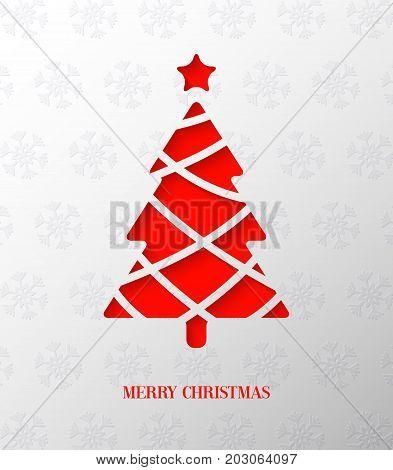 Paper cut creative Christmas tree. Vector Illustration.