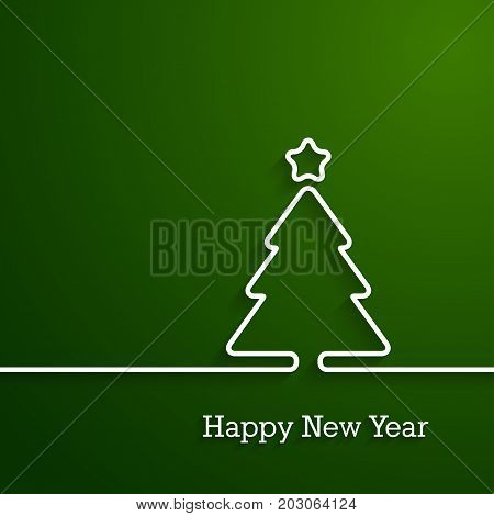 Happy New Year paper postcard. Vector illustration.