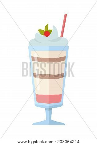 Vector sweet frozen ice cream. Ice cream icon. Summer cold ice cream with fruits in glass. Dessert illustration. Cold milk product. Ice cream logo on white background