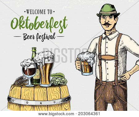 man in traditional Belgian or Bavarian clothes with beer. engraved in ink hand drawn in old sketch and vintage style for web or pub menu. design of oktoberfest on gray background