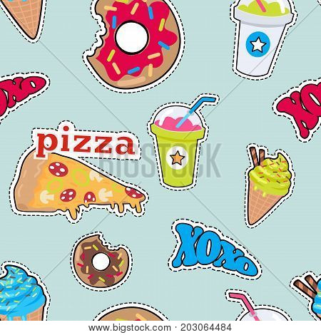 Seamless pattern with food. Pizza, bitten doughnut, xoxo, cocktail, smoothie, ice cream. Endless texture with snack products. Fabric, textile, wallpaper, wrapping paper design. Vector in flat style