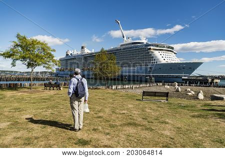 Luxury Cruise Ship anchored in the Portland Maine