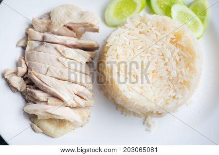 Hainanese Chicken Rice, Thai Gourmet Steamed Chicken With Rice