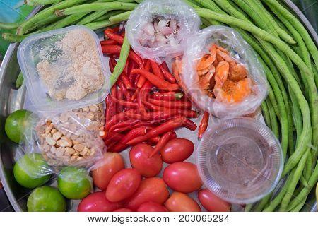 Ingredients Set Of Papaya Salad Or Som Tum In Thai Name