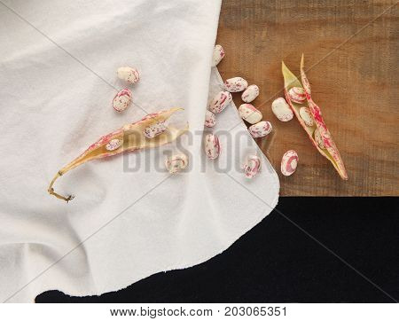 Overhead of cranberry beans some in the shell others loose on a white cloth on a wood surface with room for text